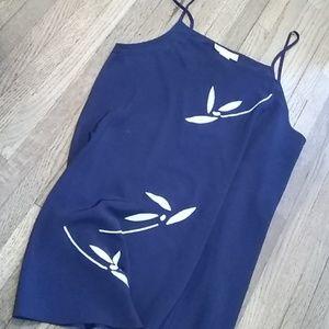 NWOT Natori Josie Bardot navy satin chemise slip